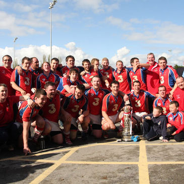 The UL Bohemians players celebrate with the Munster Junior Cup