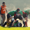 Flanker Niall Ronan is pictured passing the ball away from a ruck as the Munster players train at UL