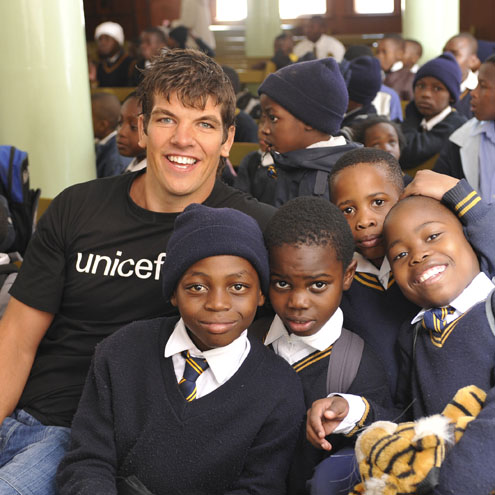 Donncha O'Callaghan with some of the kids in South Africa
