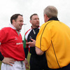 Welsh referee Clayton Thomas, who officiated at Lansdowne Road in January 1999, has a word with David Humphreys and Maurice Field prior to kick-off