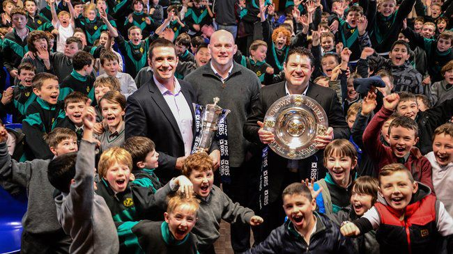 Alan Quinlan, John Hayes and Reggie Corrigan with the trophies