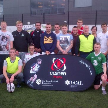 Ulster's Brian O'Shaughnessy with the coaching course attendees