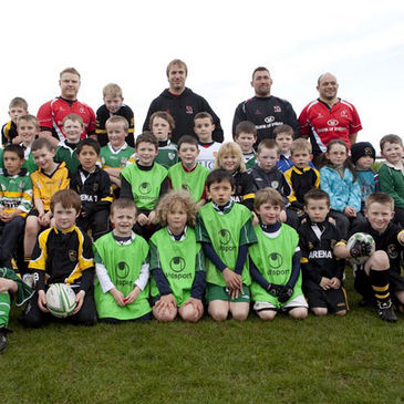 The Donegal kids are pictured with some of their Ulster heroes