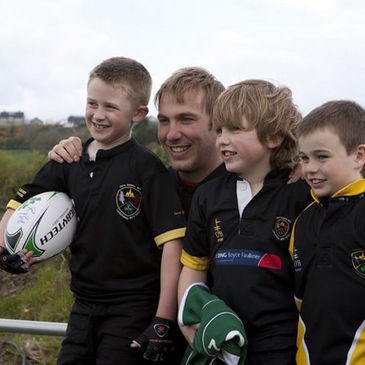 Stephen Ferris with some of the Donegal youngsters