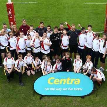 The Ulster players with the Special Needs Camp kids