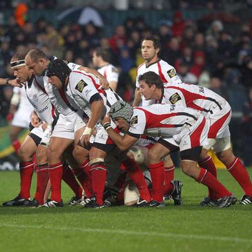 The Ulster forwards get set for a scrum