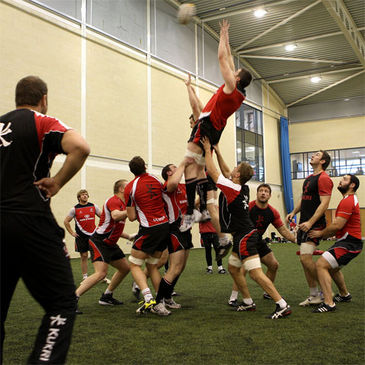 The Ulster forwards training indoors at UUJ