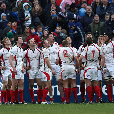 The Ulster players watch a conversion go over