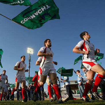The Ulster players run out at the Sportsground