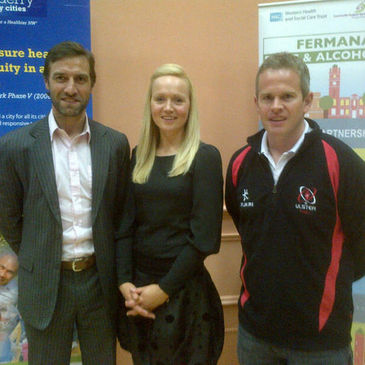 Ulster Rugby's Darren McGuigan with Colin Regan and Dr. Lynette Hughes