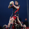 Scarlets lock Vernon Cooper rises highest to claim a lineout ball for the Welsh side