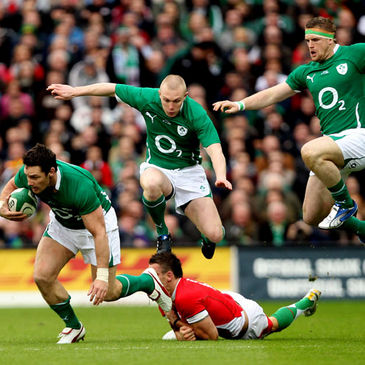 David Wallace, Keith Earls and Jamie Heaslip in action against Wales