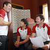 Conor Murray and Donnacha Ryan, who are both set to participate in the Rugby World Cup for the first time, are pictured chatting with the 28-times capped Paddy Wallace