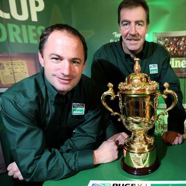 David Humphreys and Donal Lenihan with the Webb Ellis trophy