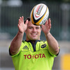 South African prop Wian du Preez collects a pass during the province's training session on Tuesday
