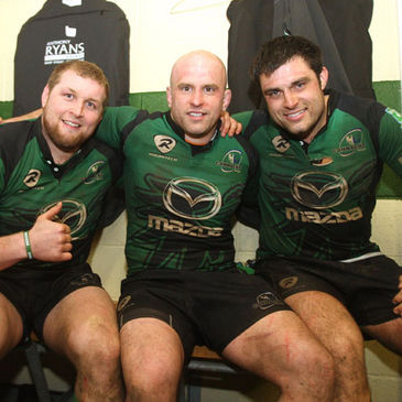 Brett Wilkinson and Ronan Loughney with hooker Adrian Flavin
