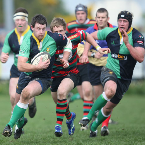 Willie Faloon on the charge for Ballynahinch
