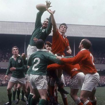 Willie John McBride competes for lineout ball against Wales in 1968