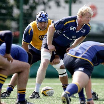 Stan Wright and Leo Cullen training with Leinster