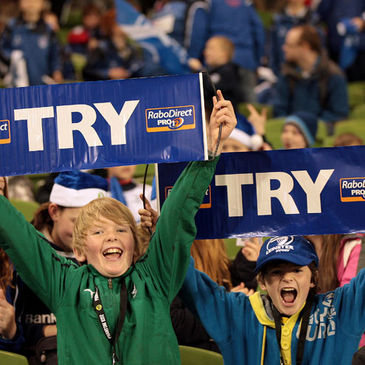 Two young fans at the Aviva Stadium