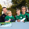 Gordon D'Arcy and Andrew Trimble poses with two young Ireland fans during the autograph session