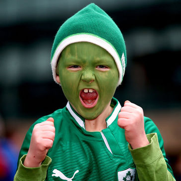 Young fan Keith Byrne cheered on Ireland against New Zealand