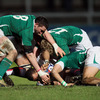 English centre Jonathan Joseph is swarmed over by Ireland's Paddy Butler, Nevin Spence and Simon Zebo