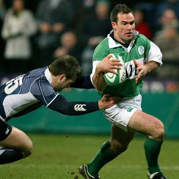 Eric Moloney on the attack for Ireland against Scotland