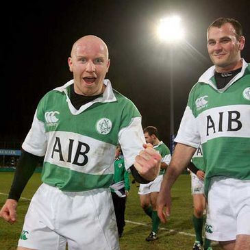 Cronan Healy shows his delight after Ireland's win at Donnybrook