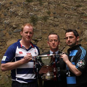 Des Dillon holds the AIB Cup trophy alongside Maurice Crowley and David Quinlan