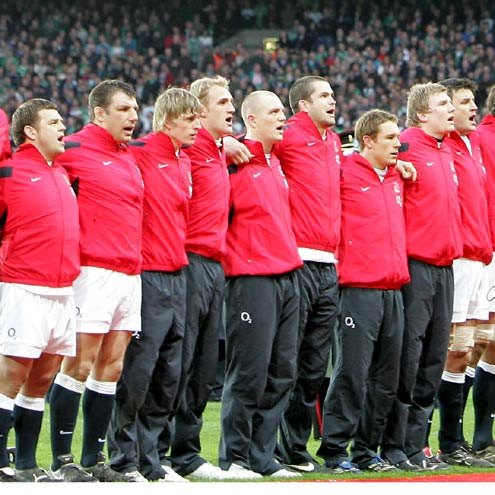 The England squad lining up at Croke Park last year