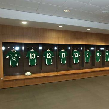 The Ireland jerseys in the dressing room