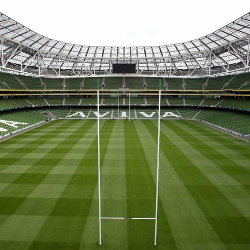 The posts go up at the Aviva Stadium