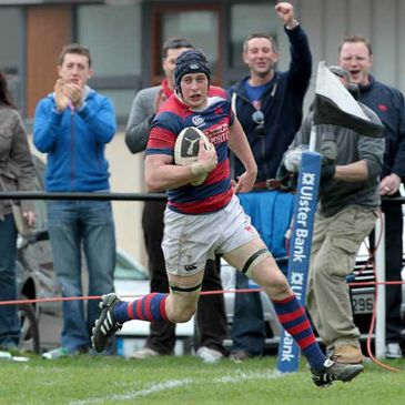 Clontarf flanker Barry O'Mahony breaks through for a try