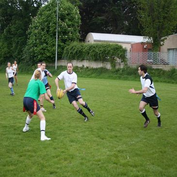Tag rugby action at Old Belvedere
