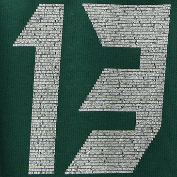 Brian O'Driscoll's jersey with fans' names in the number