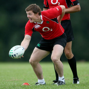 Brian O'Driscoll training with the Irish squad