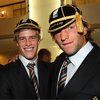 Ulster and Ireland duo Andrew Trimble and Neil Best don their World Cup caps at the reception at the Conseil Regional D'Aquitaine