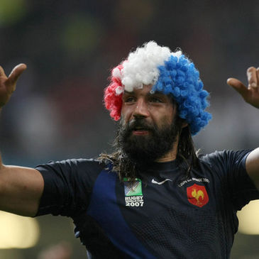 France's Sebastien Chabal in celebratory mood