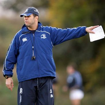 Leinster coach Michael Cheika directing operations at training