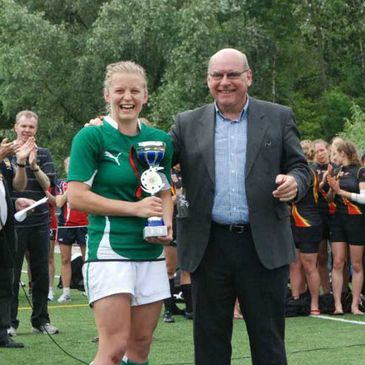 Claire Molloy accepts the trophy at the European qualifying tournament