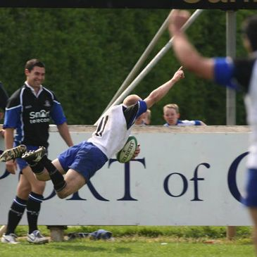 Cronan Healy dives over for the clinching try