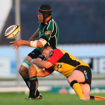 Connacht flanker Ray Ofisa in action against the Dragons