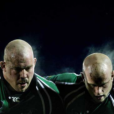Robbie Morris and Adrian Flavin prepare to engage in a scrum