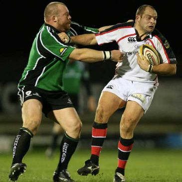 Ulster captain Rory Best is tackled by Connacht's Robbie Morris at the Sportsground