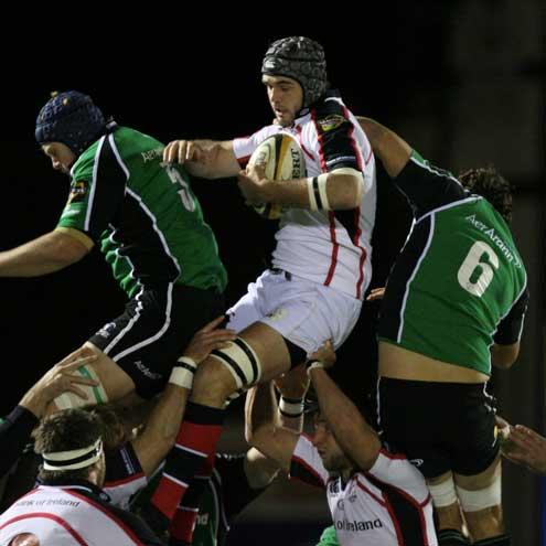 Ulster's Matt McCullough claims a lineout ball against Connacht