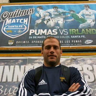 Felipe Contepomi in front of a poster for the first Test