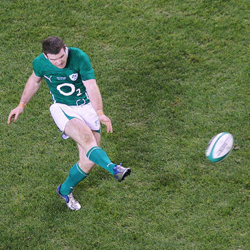 Gordon D'Arcy attempts a drop goal