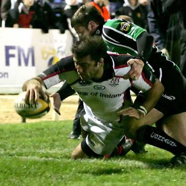 Kieron Dawson scoring a try for Ulster against Connacht