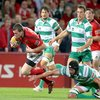 Munster full-back Denis Hurley was hauled down just short of the try-line by Benetton Treviso's Corniel van Zyl